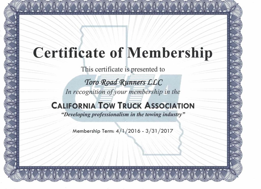 CTTA Certificate