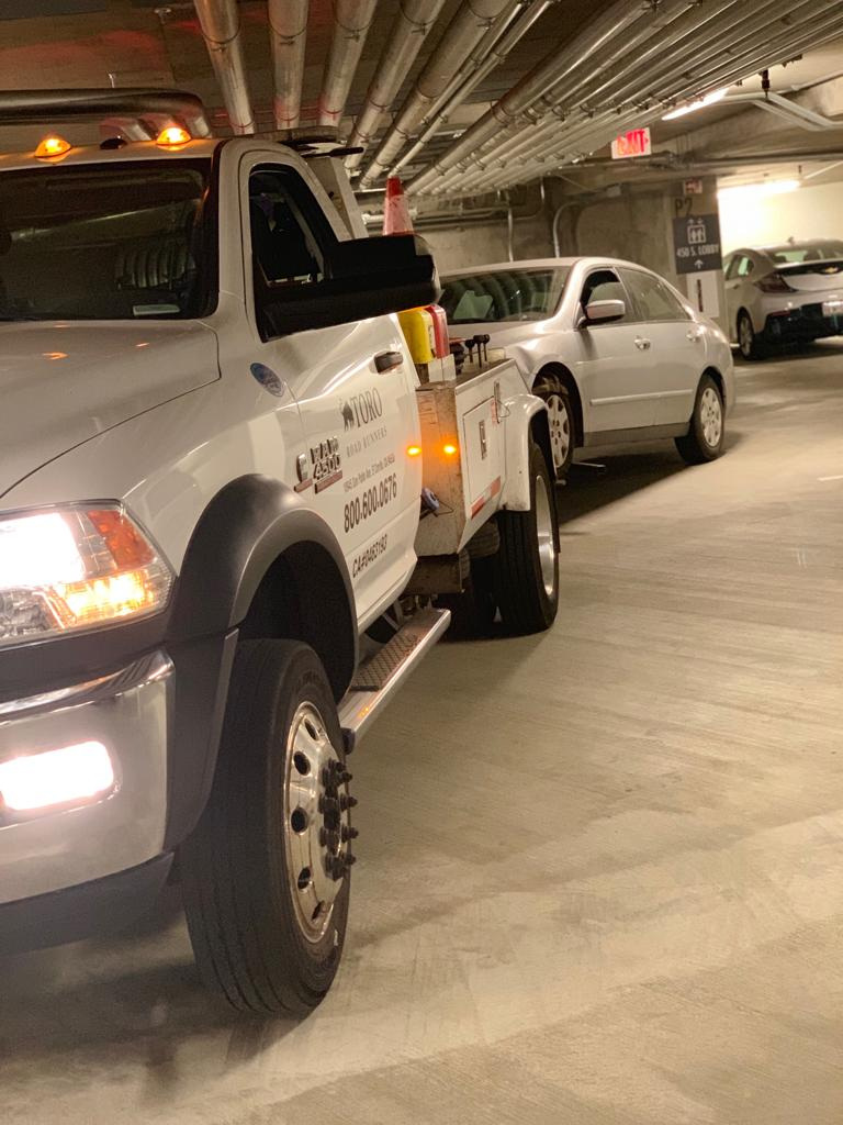 Towing in an underground parking lot